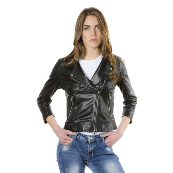 Women's perfecto leather jacket black KCC