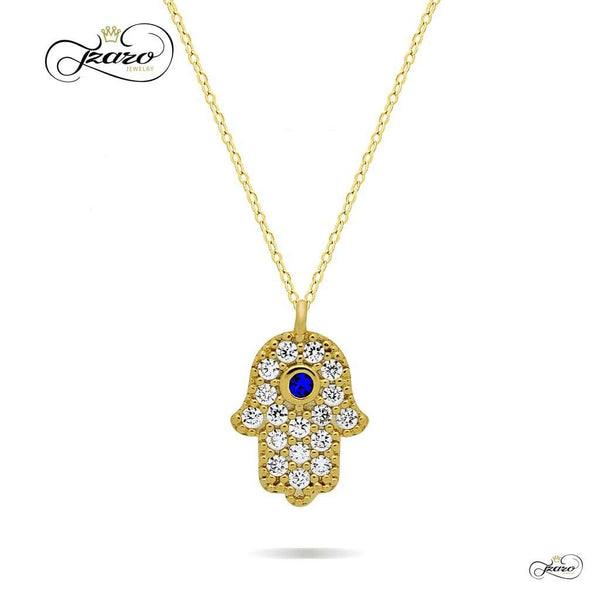 Small Hamsa Necklace, 925 Sterling Silver, 14K Gold Plated Hand of Fatima Necklace