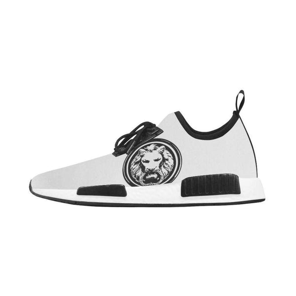 Mens White Trainer with Black Lion, Run Style Shoes