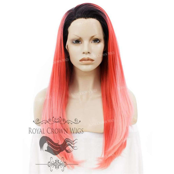 "24 inch Heat Safe Synthetic Straight Texture Lace Front ""Aphrodite"" in Pink Ombre"