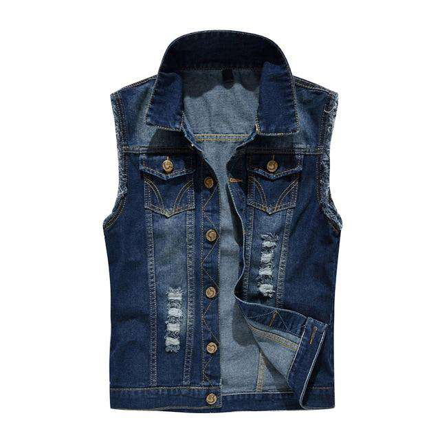 HEE GRAND Korean Style Slim New Arrival Men Jean Jacket Vest Dark Blue Rivets Decoration Men Vest S~6XL  MWB261