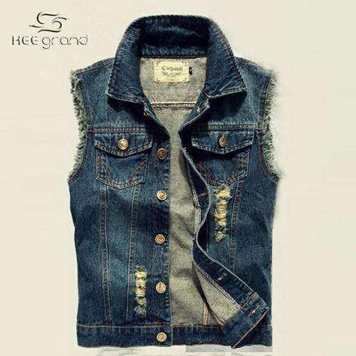 HEE GRAND Men Jeans Vest Punk Style 2017 Spring New Fashion Sleeveless Denim Jackets  All-match Style Hip Hop Vest  MWB135