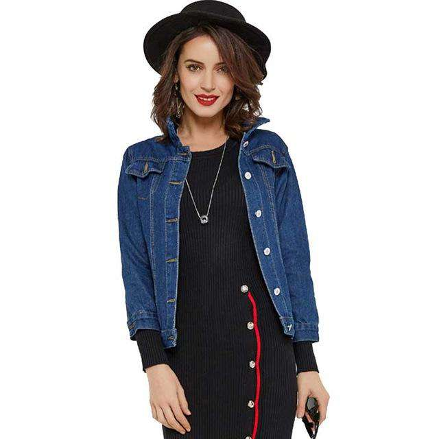 HEE GRAND 2017 Autumn Manteau Femme Denim Jacket Women Three Quarter Sleeve Outerwear Casual Turn-down Collar Coats Women WWJ776
