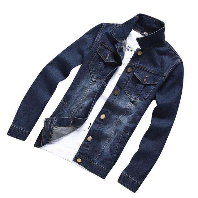HEE GRAND Male Fashion Denim Jacket Non-elastic Jeans Jacket Wide-waisted Casual Coat Large Size M-3XL MWJ2232