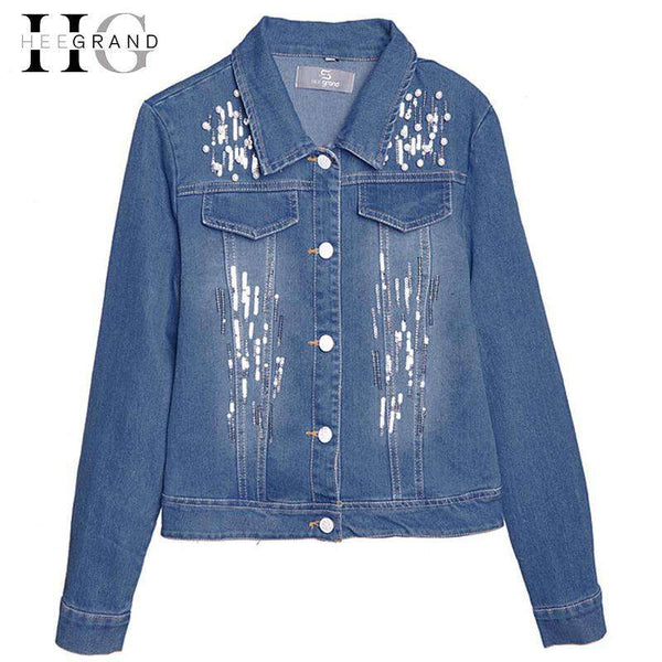 HEE GRAND High Street Fashion Jeans Jacket Women Hole Pearl Slim Denim Coat Mujer Beaded Female Outwear Sequined Girls WWJ841