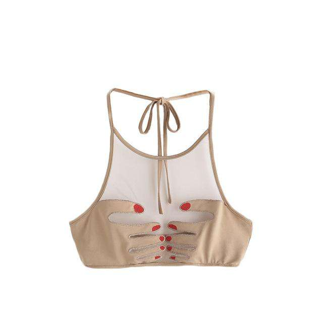 SHEIN Sexy Tops for Women Apricot Bralette Top Nails Hand Patch Halter Neck Mesh Bralette Womens Sexy Crop Top