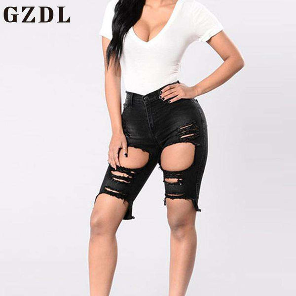GZDL Fashion 2017 Plus Sizes Women Shorts Style Low Waist Hole Ripped Jeans Casual Female Streetwear Demin Zipper Shorts CL4381