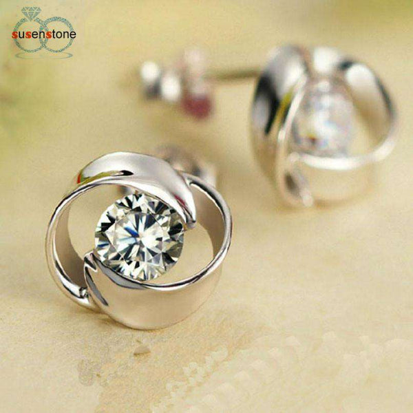 SUSENSTONE 1Pair Beautiful Silvering Crystal Shiny Ear Stud Earrings Women Fashion