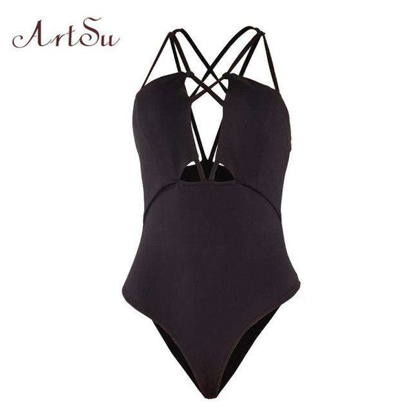 ArtSu Cut Out Solid Backless Sexy Bodysuit Women Halter Jumpsuit Romper Slim Body Suit Club Overalls 2017 Catsuit Top ASJU30142
