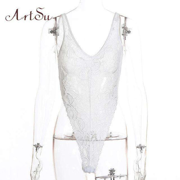ArtSu Floral Lace Bodysuit Strap Transparent Women Bodysuits Elegant Rompers Womens Jumpsuit White Body Sexy Catsuit ASJU30249