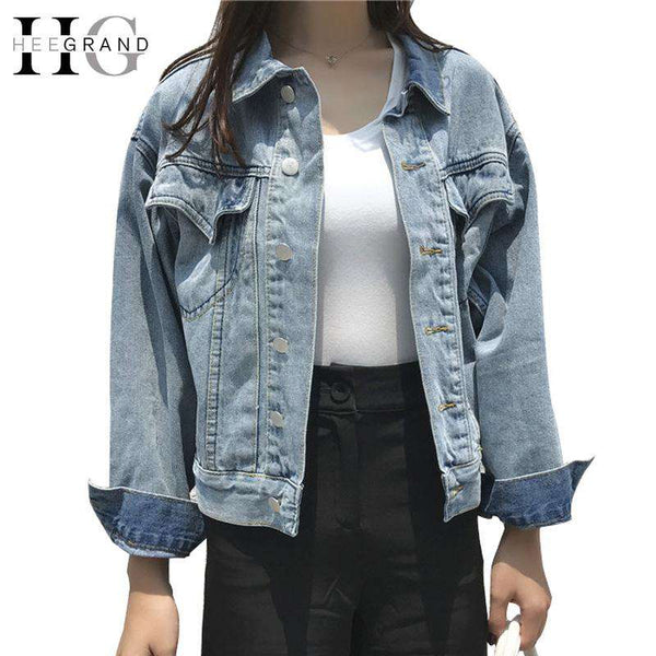 HEE GRAND 2018 Women Spring Jean Jackets Loose Denim Jacket Solid Casual Street Coat with Long Sleeve Oversize Outwear  WWJ913