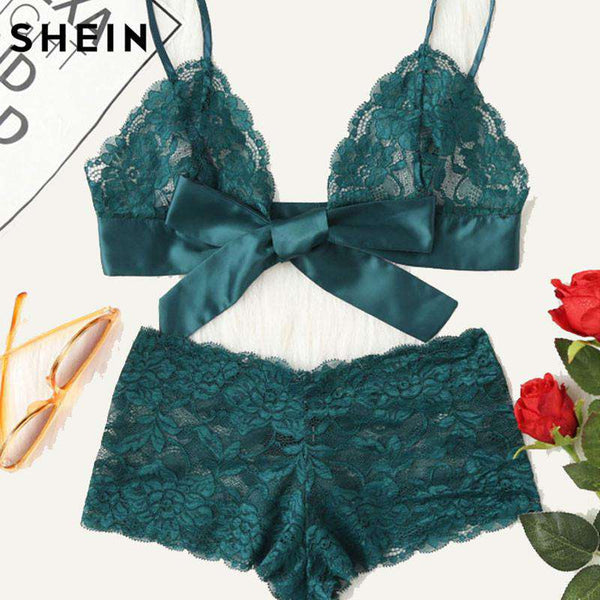 SHEIN Green Lace Sexy lingerie Set Hot Women Sleepwear V Neck Sleeveless Tie Front Lace Bralette And Pantie Intimate Lingerie