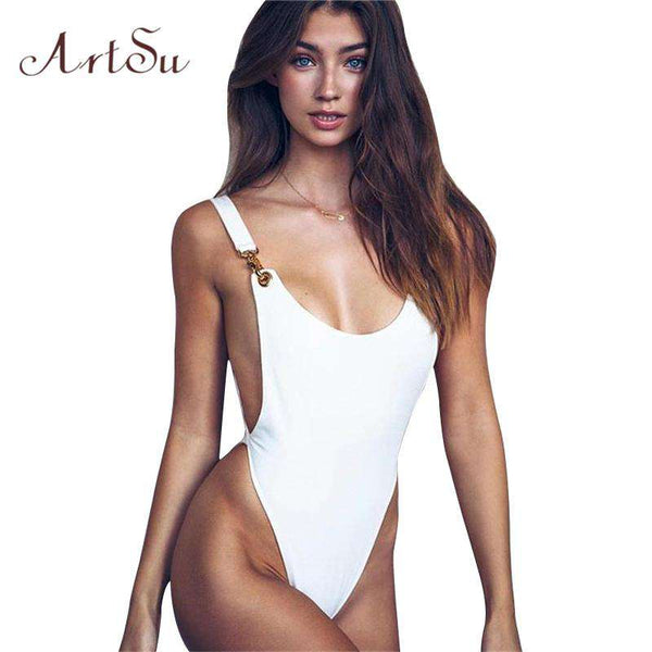 ArtSu Sexy Bodysuit Women White Jumpsuit Rompers Sexy Club Backless Body Black Scoop Sleeveless Cami Catsuit 2018 Top ASJU30280