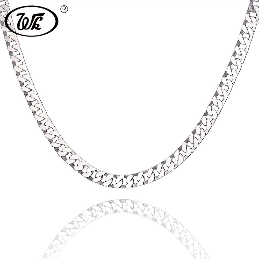 WK Flat Figaro Rapper Hip Hop Chain Male 925 Sterling Silver Boys Men Necklace Curb Hiphop Chains Jewelry 18 20 22 Inch W2 NM013
