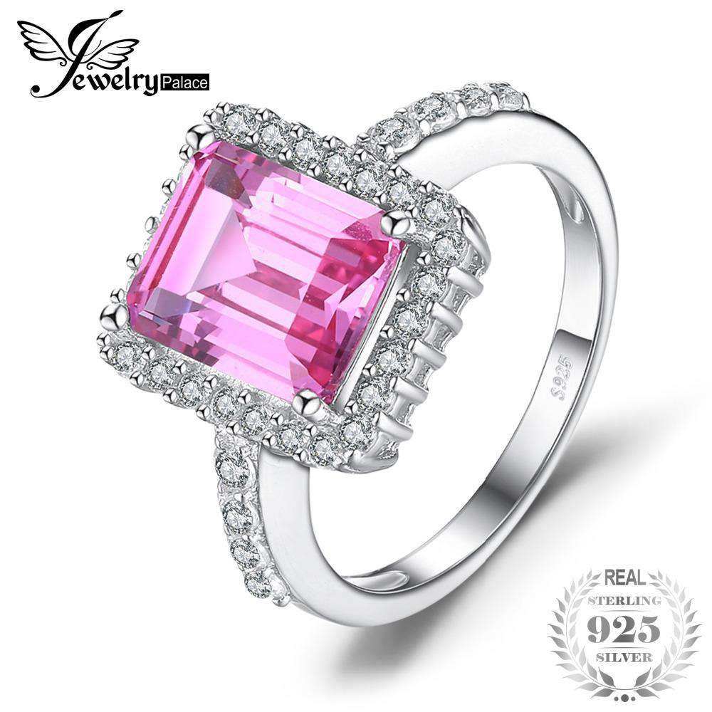 JewelryPalace luxury 4.88ct Created Pink Sapphire Cocktail Ring 925 Sterling Silver Jewelry For Women New Fashion 2018 Hot Sale