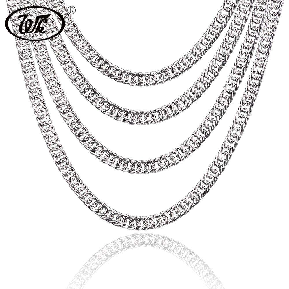 WK Genuine 925 Sterling Silver Cuban Curb Men Chain Necklace Hip Hop Rapper Mens Chains 4MM 5MM 6MM 7MM 18 20 22 Inch W9 NM003
