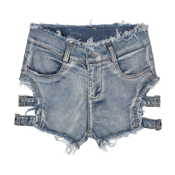 2018 Summer Women New Fashion Vintage Ripped Hole Fringe Bandage Denim Shorts Casual Pocket Jeans Shorts Gril Hot Shorts