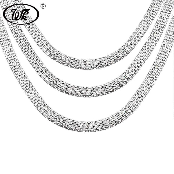 WK 1 Piece Vintage 925 Silver Boys Mens Snake Chain Necklace Hip Hop Punk Male Chains Jewelry 18 20 Inch 4MM 5MM 6MM W4 NM008