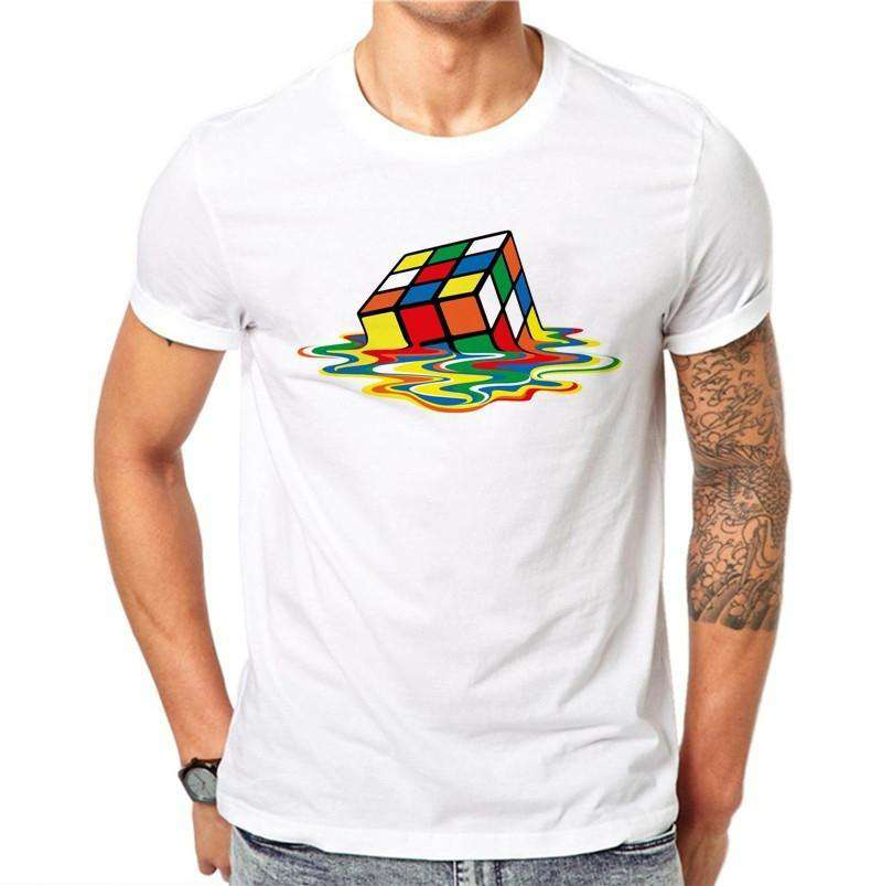 100% Cotton Simple Rubik's Cube Printed Design Men T-shirt Male Cool Tops Hipster Short Sleeve Casual Tee T Shirts