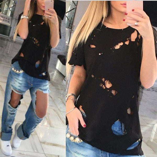 Summer Ripped Tops 2018 Women T-Shirt Sexy Hollow Holes Shirts O Neck Short Sleeve Black White Casual Loose Tshirt Plus Size Tee