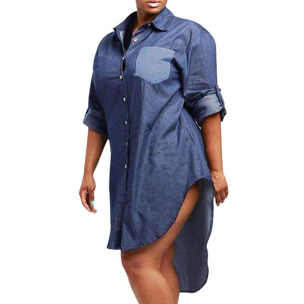 Womens Denim Jeans Look Asymmetric Long Sleeve Button Mini Sexy Casual Dress