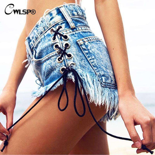 CWLSP Sexy High Waist  Shorts Jeans for women Side Cross Lace Up High Street Denim bf Punk Shorts spodenki damskie QL3189