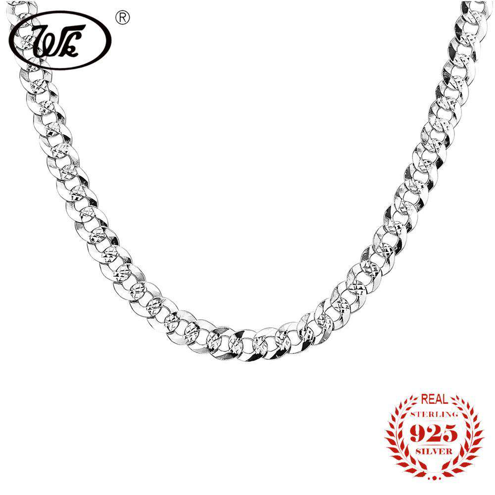 WK 925 Sterling Silver Mens Boys Link Chain Necklace Hip Hop Vintage Punk Men Necklaces 50cm 55cm Hiphop Jewelry Gift SS NM005