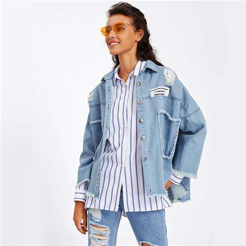 Dotfashion Frayed Trim Patch Back Distressed Denim Jacket Female Spring Autumn Blue Patched Ripped Single Breasted Casual Coat