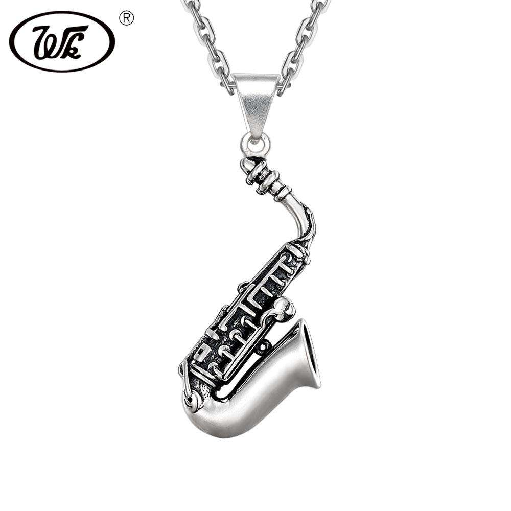 WK 925 Sterling Silver Hip Hop Saxophone Music Necklace Women Men Vintage Belgium Musical Instruments Pendant Necklace 4W NZ069