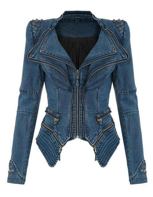 Women Denim Jacket Power Studded Shoulder Notched Lapel Plus Size Denim Jeans Jacket Tuxedo Coat Jackets Blue Black