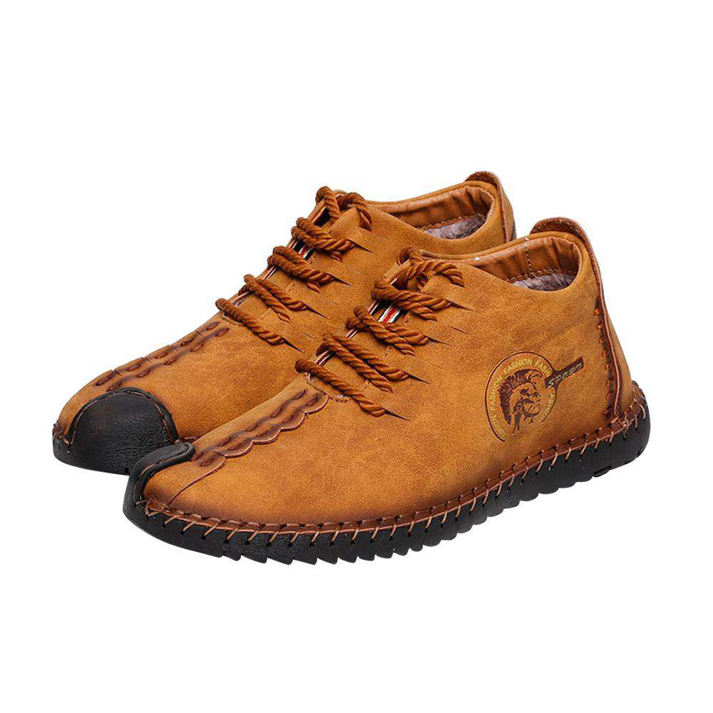 Retro Casual Men Shoes Breathable with High Top Plus Velvet Warm Winter Leather Shoes