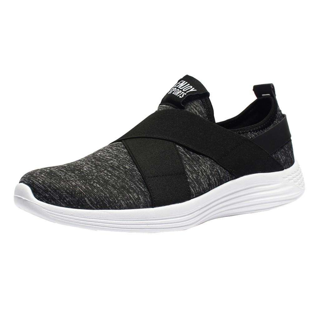 Men Flats Shoes Mesh Breathable Shoes Casual Running Shoes Sneaker