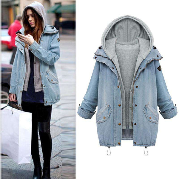 Fashion Women Two Piece Set Denim Jacket Hooded Vest Oversized Casual Coat Outerwear Light Blue