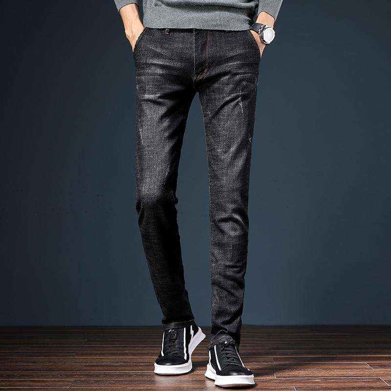 HAOKEKE Jeans 2018 Autumn Male Denim Full Length Trousers Elastic Slim Pencil Pants Man Jeans Black Blue