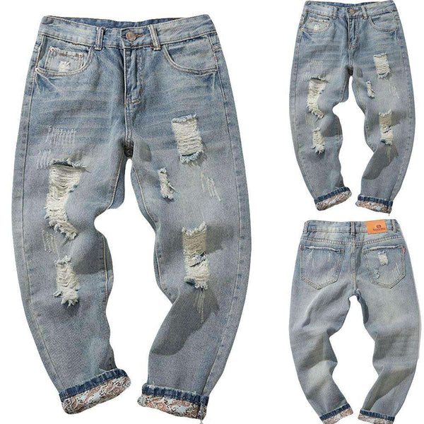 Men's Autumn Casual Denim Cotton Vintage Wash Hip Hop Work Trousers Mid Waist Jeans Pants Drop Shipping