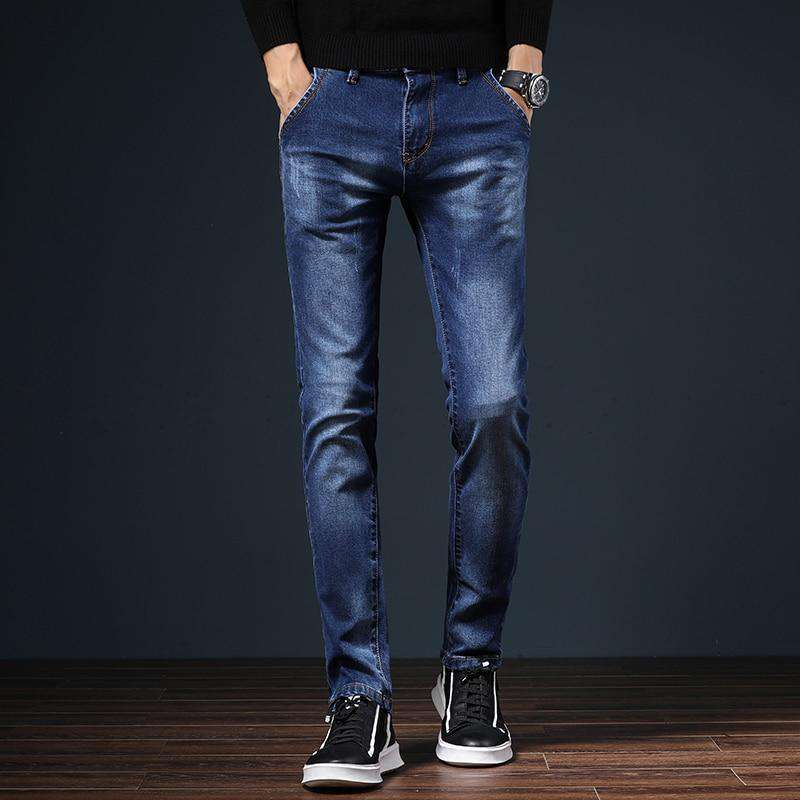HAOKEKE Jeans Men Dark Blue Male Causal Street Denim Trouser Elastic Slim Fit Full Length Straight Pants Man Jeans