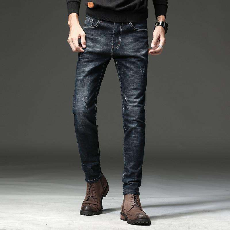 HAOKEKE Jeans Men Black Slim 2018 Autumn Male Denim Trouser  Brief Pencil Pants Jeans
