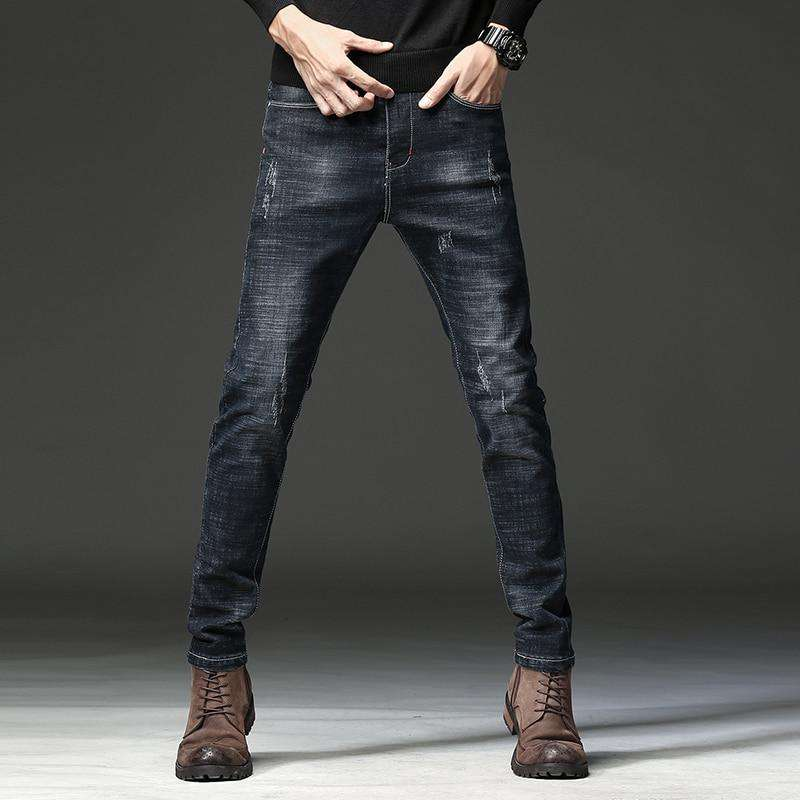 HAOKEKE Jeans Men New 2018 Autumn Black Slim Fit Elastic Male Denim Trouser Casual Pencil Pants Jeans