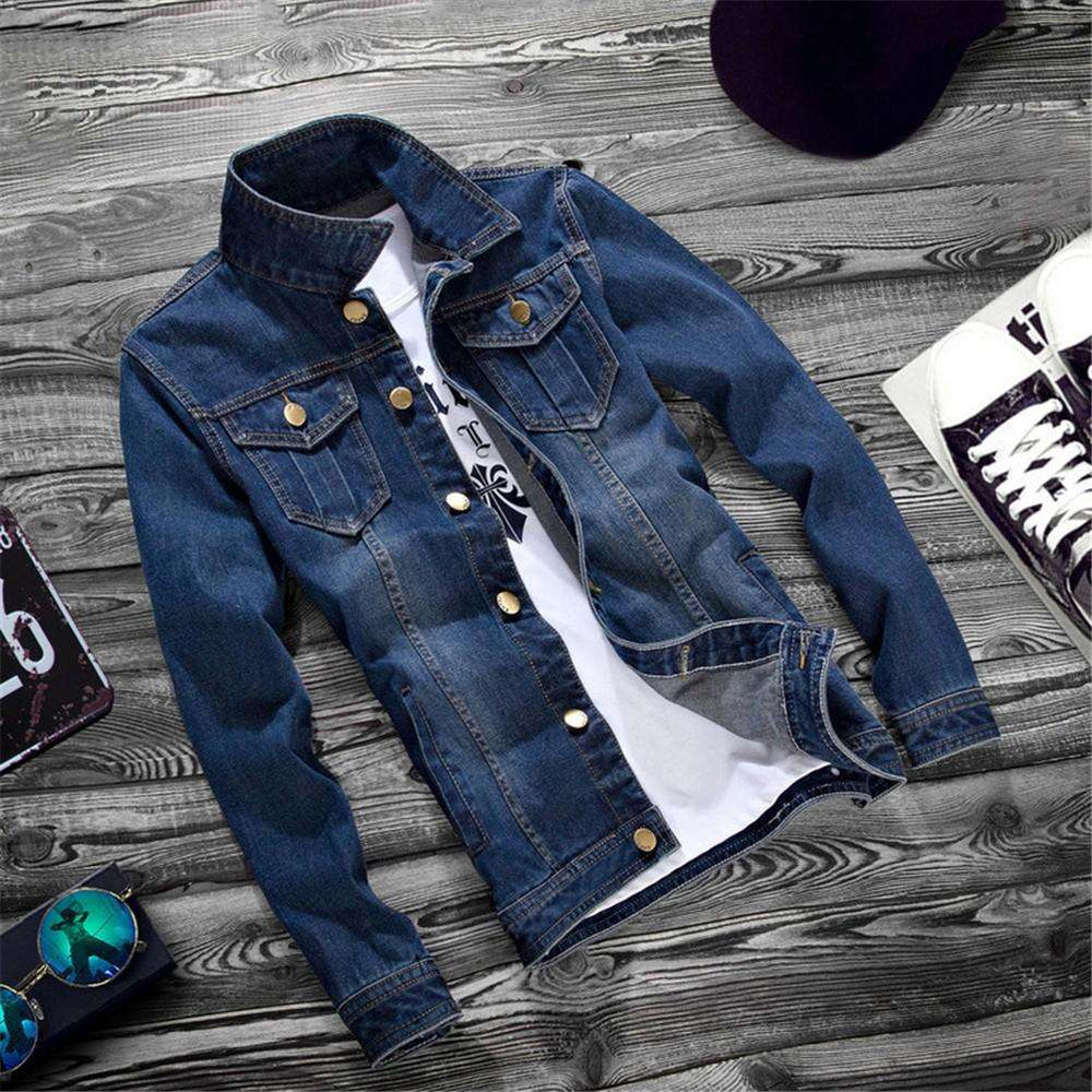 New Men Blue Jean Jacket Washed Denim Slim Fit Vest Spring Coat Top Overcoat
