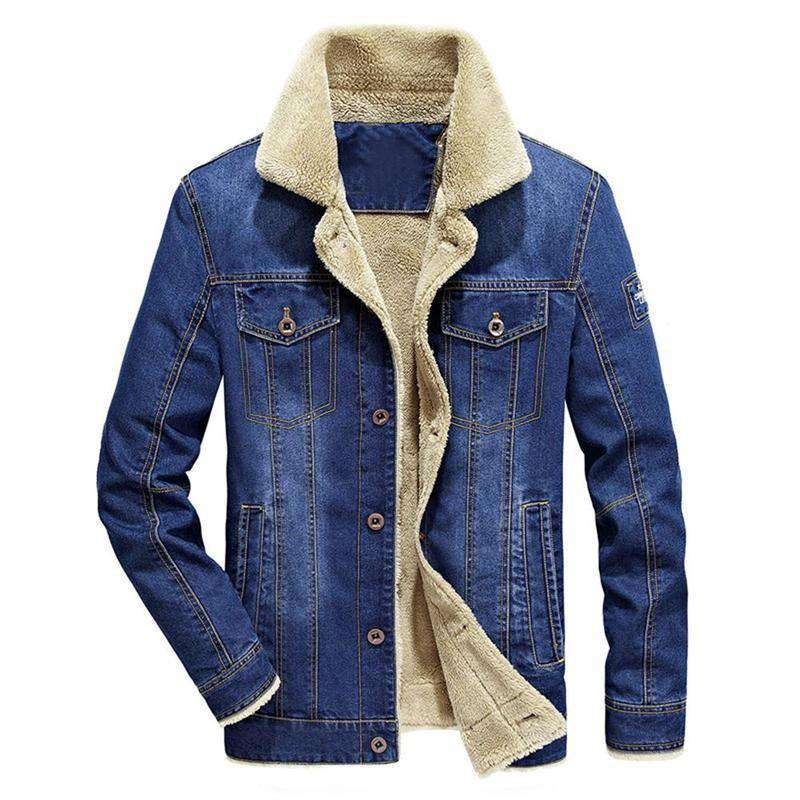 High Quality Winter Mens Fashion Washing Wear Resistance Denim Jacket Casual Jeans Jacket Plus Velvet Outwear Coat Plus Size
