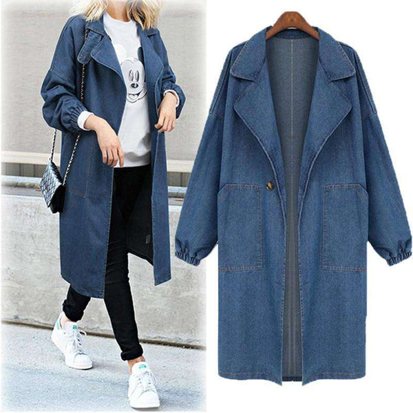 Women Plus Size Casual Long Sleeve Denim Jacket Long Jean Coat Outwear Overcoat