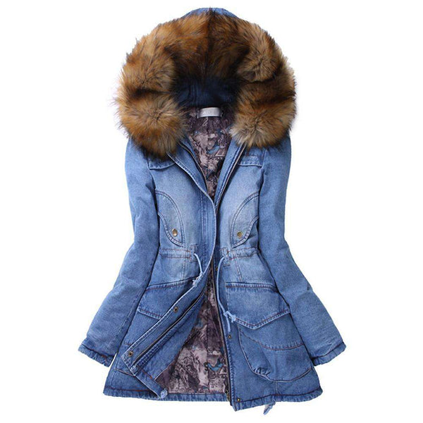 Womens Fur Collar Hooded Slim Long Warm Winter Jacket Jean Denim Coats