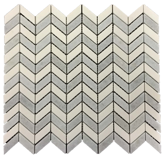 WHITE THASSOS PETITE CHEVRON WITH BLUE CELESTE MOSAIC