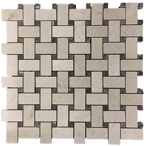 "CREMA MARFIL BASKETWEAVE WITH 5/8"" WHITE THASSOS DOT MOSAIC"