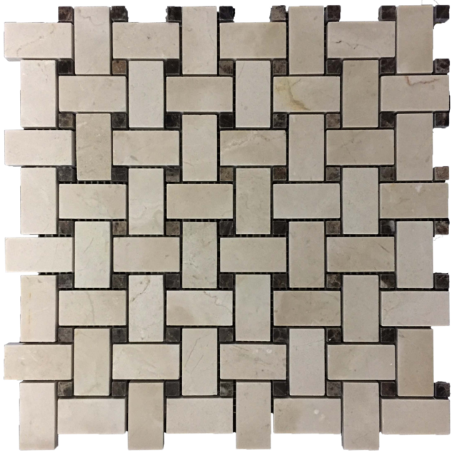 CREMA MARFIL BASKETWEAVE WITH DARK EMPERADOR DOT MOSAIC POLISHED