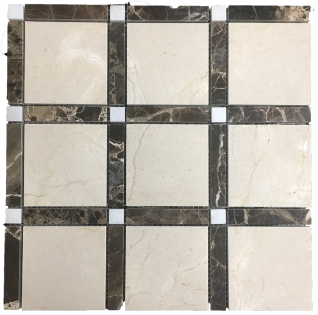 CREMA MARFIL WITH DARK EMPERADOR BAR AND PEARL WHITE DOT GRANDE SQUARE MOSAIC