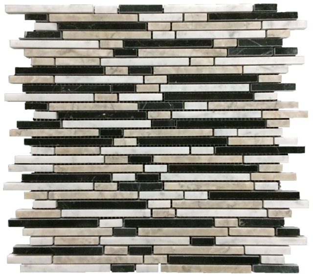 TEMPLE GREY/ BLACK/ CARRARA MINI RANDOM STRIP MOSAIC