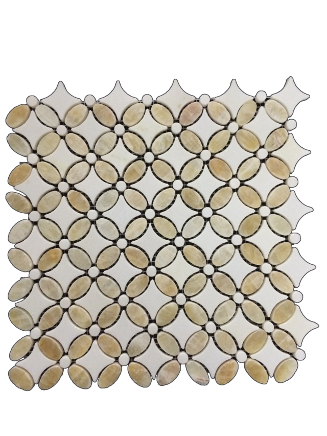 WHITE THASSOS FLEUR MOSAIC WITH HONEY ONYX