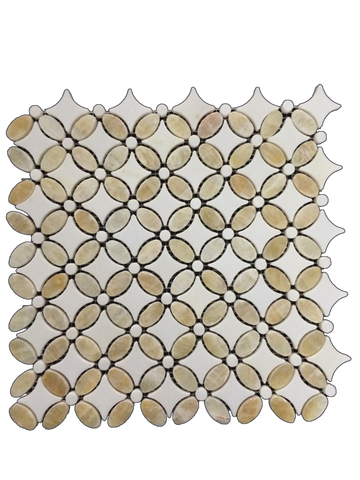 HONEY ONYX BASKETWEAVE WITH WHITE ABSOLUTE DOT MOSAIC HONED