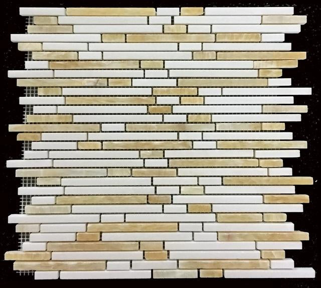 WHITE THASSOS WITH HONEY ONYX MINI RANDOM STRIP MOSAIC